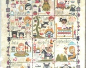 Cute cross stitch pattern/ kit - Once Upon a Time Sampler by the Frosted Pumpkin, calendar pattern, monthly pattern, children room decor