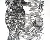Raven Print, Linocut, Scottish Thistle, Landscape, Relief Printmaking