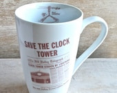 Save the Clocktower Coffee Mug, Big, Large, Tall, 20 oz, Back To the Future Tea Cup, Flux Capacitor, Large, 20 oz, Time Machine, pop culture