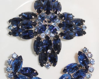 REDUCED Gorgeous Two Tone Light Dark Shades Of BLUE Juliana Style Vintage Brooch & Clip Earrings