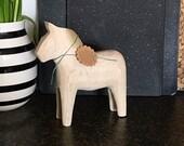 """JUMBO Swedish Dala Horse  8"""" Unfinished Natural Wood"""