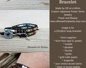 Anti Stress Bracelet/ Leather Wrap Handmade Japanese Power Stone Gemstone Layer Jewelry/ Spiritual Meditation Peace Yoga/ Boho Ethnic