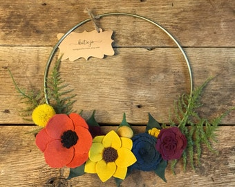 Fall Felt Flower Modern Wreath/Gold Wreath/Felt Flower Wreath