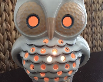 Vintage Hand Made Ceramic Pottery Owl Candle Holder