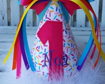 Girls 1st Birthday Hat - Baby Girls Sprinkles Party Hat -  Cake Smash Hat - Funfetti Birthday Party Theme