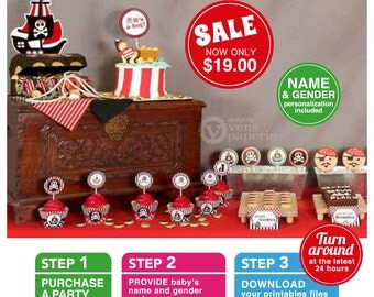 Red Pirate Baby Shower Package Personalized FULL Collection Set - PRINTABLE DIY - BS831CA1x