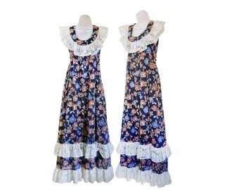 70s Boho Dress Bohemian Maxi Dress Boho Maxi Dress Lace Ruffle Dress Long Boho Dress Floral Maxi Dress Blue Maxi Dress Flower Print Dress