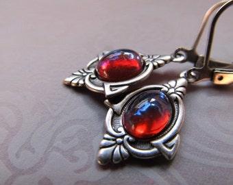 Dragon's Breath Opal Earrings Game of Thrones Jewelry Mexican Fire Opal Earrings Fire Opal Earrings Gothic Earrings- Dragon's Eyes