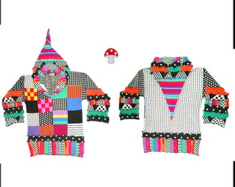 """Elf Hoodie DEPOSIT Special Order """"Black White & Bright All Over"""" Sz Extra Large Recycled Sweater Jumper Rainbow Brights Checkers Polka Dots"""