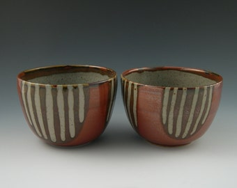 Bowls in Red with Brown and Tan Stripes Handmade Pottery