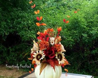 Large Fall Neutral Colors White Pumpkin Centerpiece Autumn Centerpiece Sunflower Fall Thanksgiving Arrangement