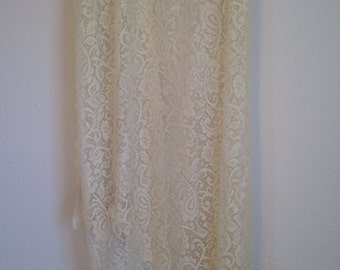 Vintage Lace Curtain Panel, Single Cream Lace Curtain, Sheer Lace Curtain, Beige Lace Fabric, Lace Drapery