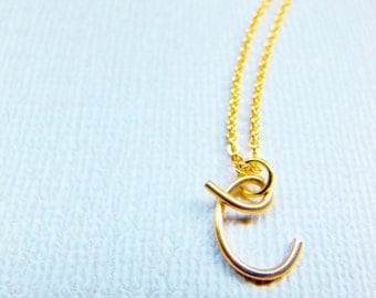 Letter C Necklace, Gold Initial Necklace, Cursive Letter Necklace, Letter Necklace, Initial Necklace