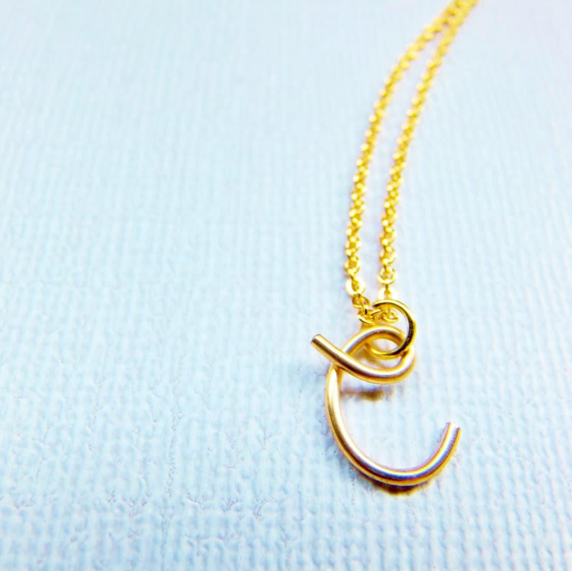 letter c necklace gold initial necklace cursive letter