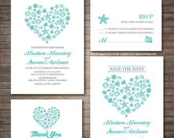 Beach Wedding Invitation printables, Destination wedding, Heart invitation, Customized DIY wedding, coral, turquoise, sea shell