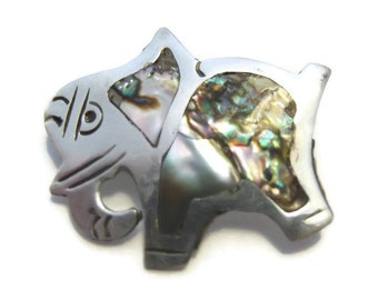 Vintage Mexican Silver Abalone Inlay Elephant Brooch