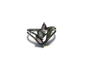 Vintage Sterling Amethyst Diamond Ring Size 8