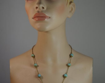 Vintage Necklace with Turquoise Stones 1950