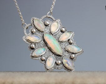 Ethiopian Opal Necklace - Opal Cluster Necklace - Fiery Colorful multicolored Opal gemstones in Sterling Silver - Big Huge Opal Necklace