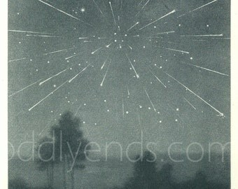 1950's Meteor Shower, Original Vintage Astronomy Space Print (ref483)