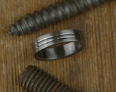 Double Channel Mens Wedding Band
