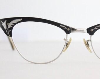 Vintage 50's Black 12K Engraved Aluminum Cat Eye Eyeglasses