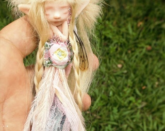 sweet sleepy feather and handyed silk chiffon   fairy fairie with dragonfly wings and fairy trims  ooak