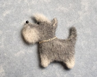 Needle Felted Silver Mini Schnauzer, Brooch, Magnet, Silver Dog, Gray Dog, by Marina Lubomirsky