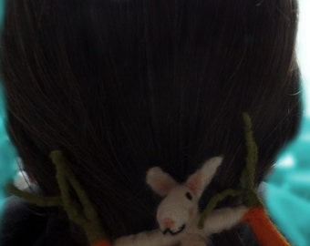 Barrette rabbit with carrots, turnips, rabbit, felt bunny, Barrette, 9 cm,