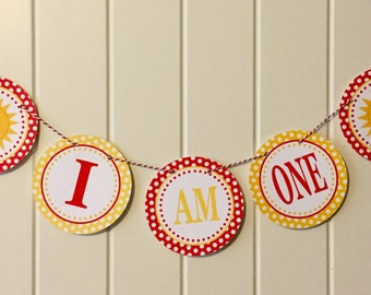 LITTLE SUNSHINE Highchair Banner 1st Birthday Party Red Yellow
