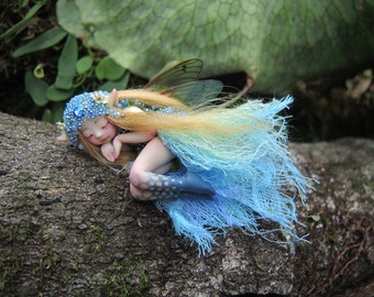 Tiny Blue Woodland Forest Fairy by Celia Anne Harris OOAK - Made To Order