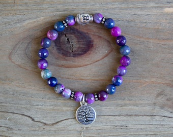 tree of life jewelry, stretch bracelet, buddha bracelet, positive energy, chakra jewelry, mala bracelet