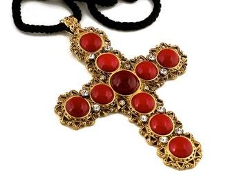 Vintage Massive CHRISTIAN DIOR Coral Cabochon Rhinestone Cross Necklace