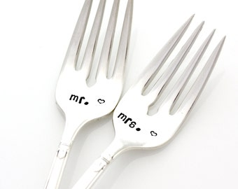 Mr and  Mrs hand stamped wedding forks for unique engagement gift. Stamped Wedding Silverware by Milk and Honey