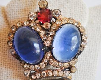 VINTAGE Sterling Silver CROWN unsigned TRIFARI brooch