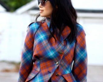 Vintage '90s Vivienne Westwood Red Label Jacket - Wool Tartan Plaid Blazer - Size Small US 2-4 UK 6-8 EUR 38
