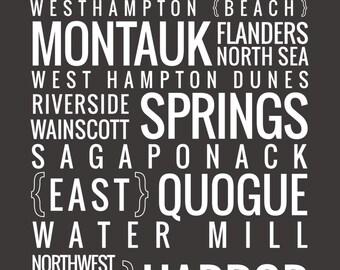 The Hamptons, New York - Typography Print