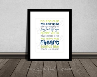 No one else will ever know the strength of my love for you, Quote, Nursery printable. Navy Blue, Gray and Green. DIY Printable.