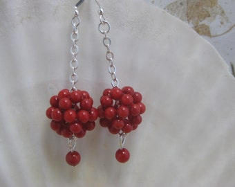 Red coral dangle earrings with sterling silver chain and ear wires