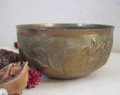 Vintage  Rustic Brass Bowl Planter With Asian Scenery Boats