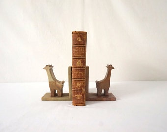 Vintage Giraffe Bookends / Onyx Chunky and Heavy