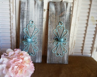 Rustic Country Chic, Wall Decor, Wall Candle Sconces, Iron Candle Holders, Farmhouse Decor, Cottage Chic