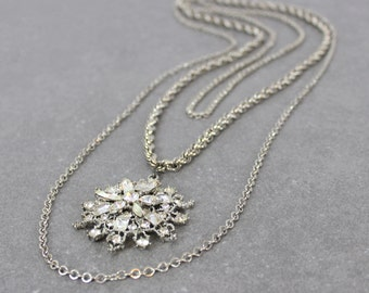 vintage 60s rhinestone snowflake necklace / triple strand starburst necklace / multi strand silver necklace / large long rhinestone necklace