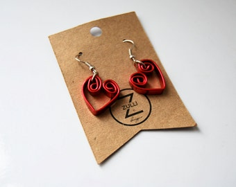 Precious Red Valentines Day Wire Heart Earrings/byZULLIdesigns/ZULLI/Valentines Day Jewelry/Womens Earrings/Gifts for her/Love Jewelry