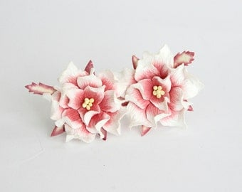 10 pcs - 4 cm 2tones White and burgundy gardenia flower