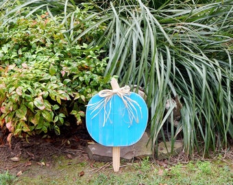 Pumpkin Yard Decor Fall Decor Porch Decor Turquoise Teal Pumpkin SALE