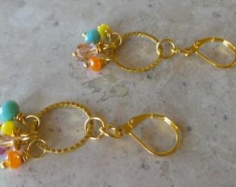 Multi Color Crystal Bead Earrings