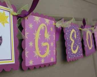 Tangled Name Banner - Tangled Party  - Rapunzel Party - Rapunzel Name Banner - Birthday Party