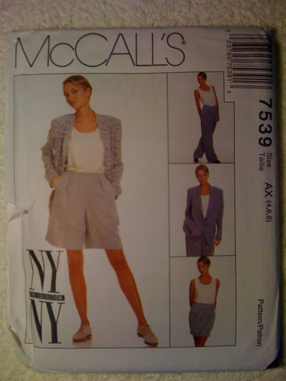 Misses Lined Jacket, Lined Skirt, Lined Pants Or Shorts and Tank Top McCalls Sewing Pattern 7539 90s Size 4-6-8 Uncut