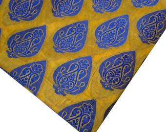 Indian Fabric - Yellow and Blue - Chanderi Silk Fabric Remnant 1 yard and 23 Inches